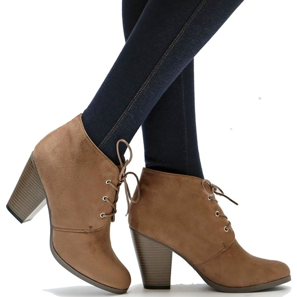 Shoes | New Taupe Lace Up Block Heel